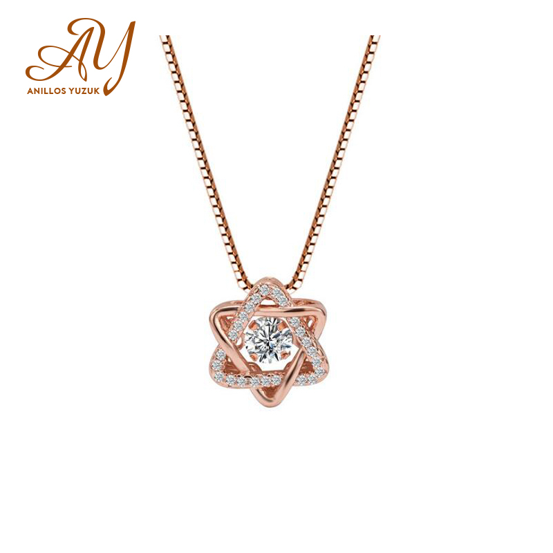 Anillos Yuzuk Pure 925 Sterling Silver Roset Gold Star Charm Pendant Necklaces For Women Fine Jewely Small Chokers Necklaces