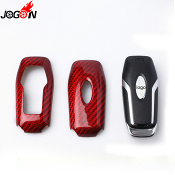 For Ford Mustang 2015 2016 2017 Red Carbon Fiber Remote Key Case Key Fob Cover Shell Trim