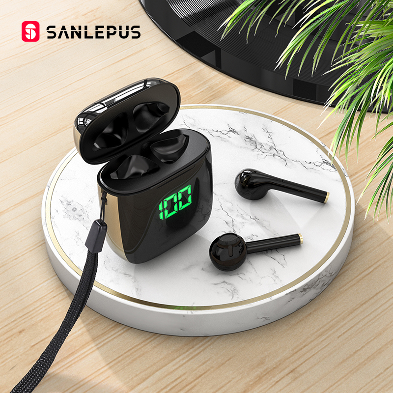SANLEPUS Led Earphone TWS Wireless Bluetooth Headphones Stereo Earbuds Headset With Wireless Charging For Xiaomi Android iOS(China)