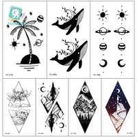 Rocooart 10.5x6cm faux autocollant temporaire de tatouage pour les filles imperméable à l'eau noir géométrique montagne Tatoos corps Art faux papier de tatouage