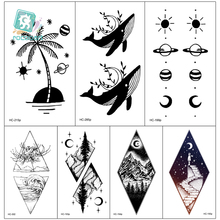 Rocooart 10.5x6cm Fake Temporary Tattoo Sticker for Girls Waterproof Black Geometric Mountain Tatoos Body Art Fake Tattoo Paper тональное средство для лица skin balance cover 30мл no 20 шампанское
