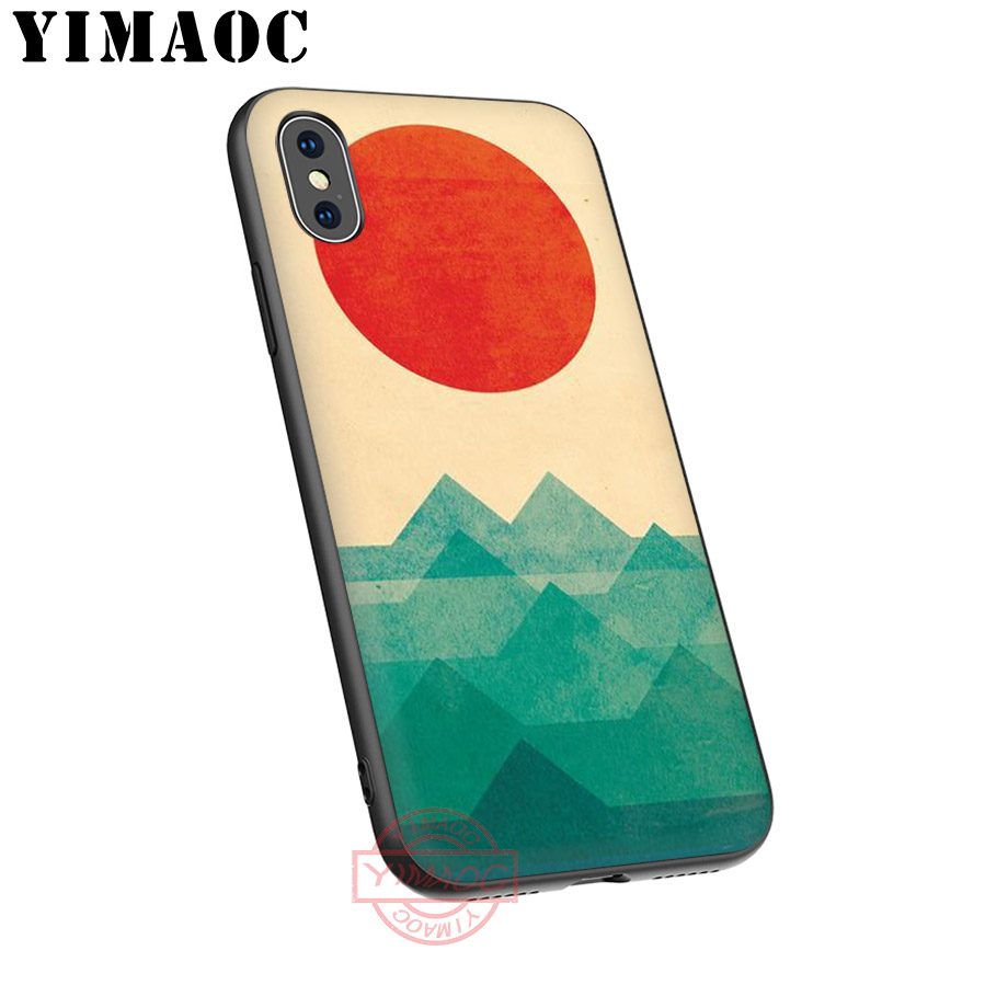 YIMAOC Wave Art Japanese Green Illust Classic Soft Silicone Case for iPhone XR X XS Max 8 7 6S 6 Plus 5S SE TPU Cover in Fitted Cases from Cellphones Telecommunications