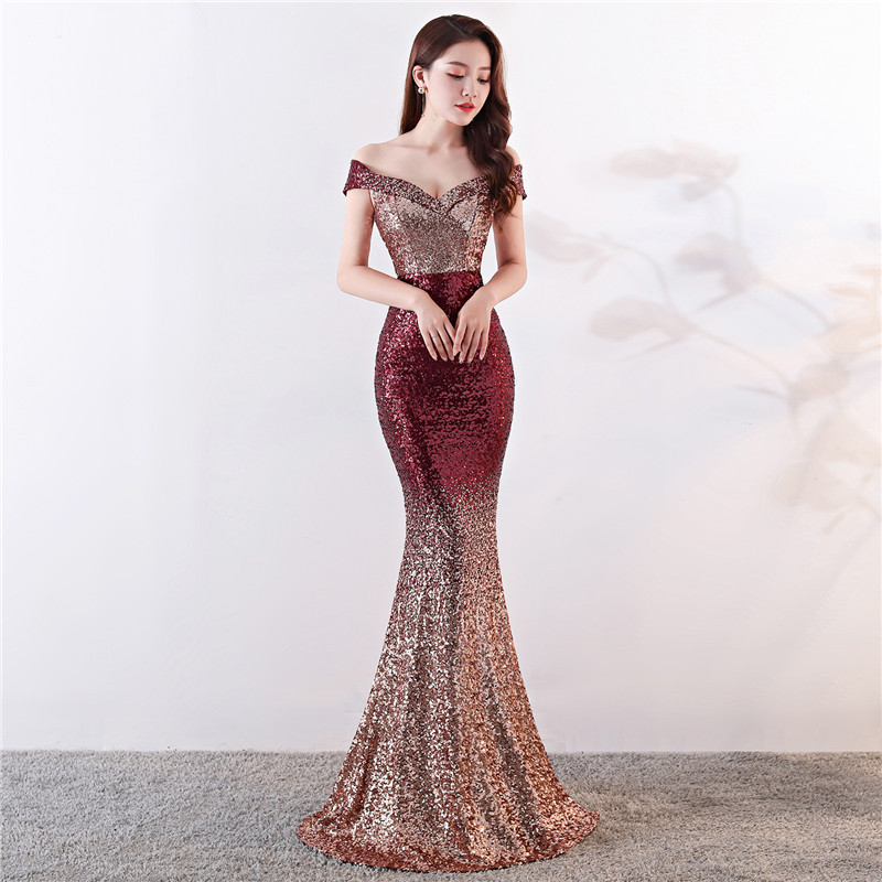 Gradient Sequin Evening Dress 2020 Luxury Ladies Slim Sukienki Off Shoulder Prom Party Long Robe Plus Size Dress Mermaid Gown