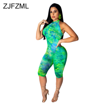 Tie Dye Casual Rompers Womens Jumpsuit Halter Open Back One Piece Skinny Playsuit Summer Cold Shoulder Sleeveless Party Bodysuit цена 2017