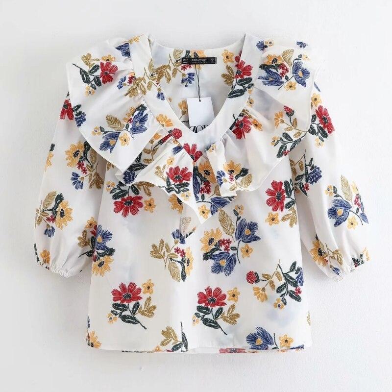 2020 Women V Neck Floral Print Ruffles Casual Smock Blouse Three Quarter Sleeve Shirts Femininas Chic Chemise Blusas Tops LS6462