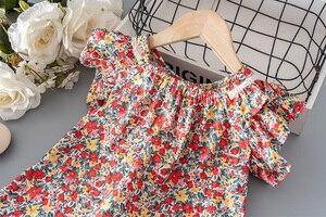 Одежда для детей ясельного возраста; Летняя одежда с цветочным рисунком и рукавами-крылышками для девочек, детское платье для девочек; Одежда для малышей от 1 до 3, 5 лет Платья для дня рождения, платье