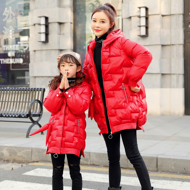 Parent Child Winter 2019 New Trend Korean Fashion Red Cotton Coat Mother and Daughter Matching Clothes Mom Baby Dresses Outfits