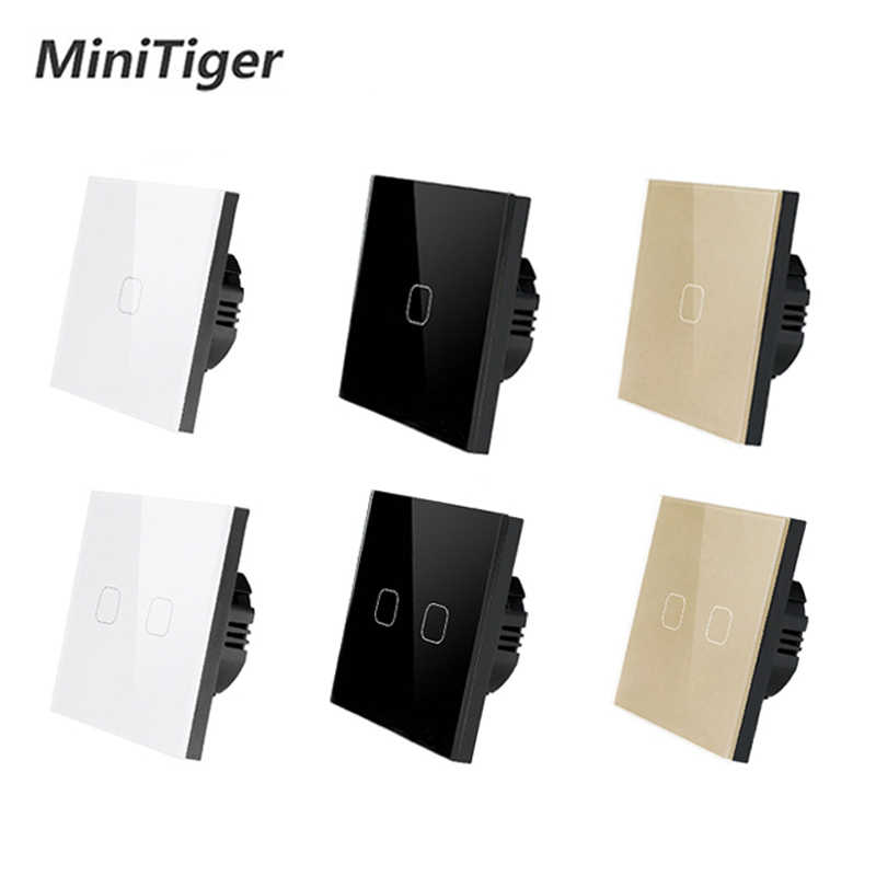 MiniTiger EU/UK standard Touch Switch White Crystal Glass Panel Touch Switch 1 Gang 1 Way Light Wall Only Touch Function Switch