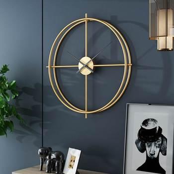 50/64/90Cm Big Golden Black Wall Clock Living Room Vintage Wrought Iron Mute Wall Clock Study Room Metal Nordic Creative Decor