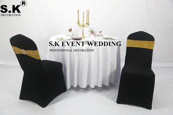 Złoto srebro błyszczące cekiny wstążka na krzesło Sash brokat łuk pasuje na pokrowiec na krzesło na wesele bankietowe dekoracje na imprezy okolicznościowe tanie i dobre opinie SHENGXuntex Haftowane Zwykły Domu Hotel Ślub BANQUET 15x35cm sash-TTT12 poly+sequin