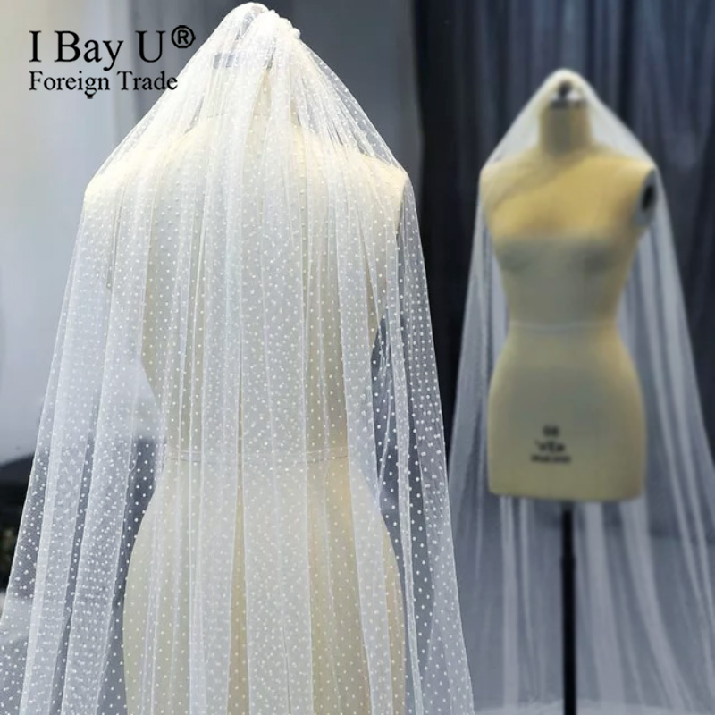 Same Quality As Photo High End Customized 1 Layer Dotted Lace Tulle Wedding Veil With Comb Woman Chapel Bridal Veils For Bridal