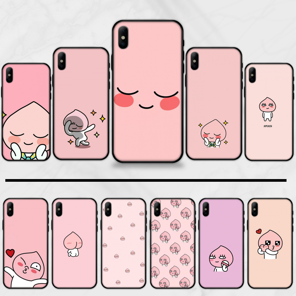 apeach kakao cartoon cute lovely comics Soft black Phone Case For iphone 5 5S SE 5C 6 6S 7 8 plus X XS XR 11 PRO MAX