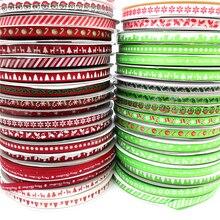 5 ярдов 10 мм Рождественская лента напечатанная корсажная лента для упаковки подарков Свадебные украшения банты для волос DIY
