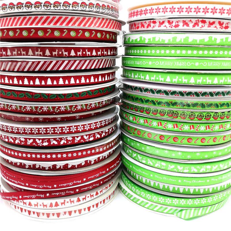 5 מטרים 10mm חג המולד סרט מודפס מבהיקי סרט לשי גלישת חתונת קישוט שיער קשתות DIY
