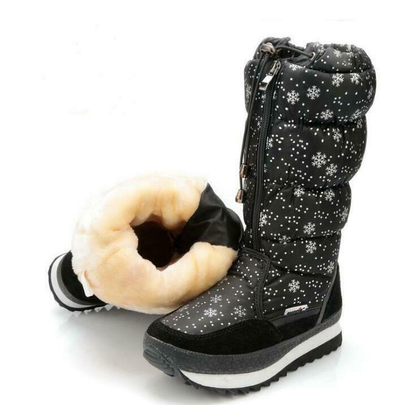 Femmes hiver mi-mollet bottes Top Pull sur imperméable en peluche neige chaussures flocon de neige imprimé épaissir chaud Zip à lacets 6Styles Plus Sz