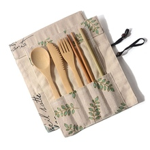 Tableware Set Bamboo Cutlery Set Wood Straw With Travel Cloth Bag Wooden Spoon Fork Knife Dinnerware Set Wholesale portable bamboo korean cutlery set wooden tableware knife fork spoon set with eco friendly bamboo straw for travel cutlery set
