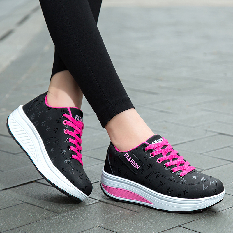 Waterproof Toning Shoes Women Height Increasing Wedge Sneakers Fitness Shoes Lace-up Platform Shoes Antislip Gym Shoes Jumping