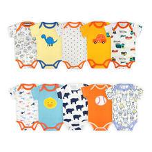 [5 peças/lote estilo aleatório] impressão dos desenhos animados bebê bodysuit algodão manga curta bebê recém-nascido macacão verão infantil roupas