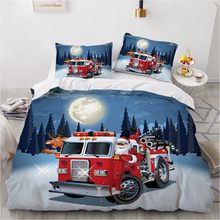3D Xmas Bedding Set Marry Christmas Bed Linen Deer Duvet Cover Sets King Queen Single Double Size Cartoon Santa Claus Design(China)