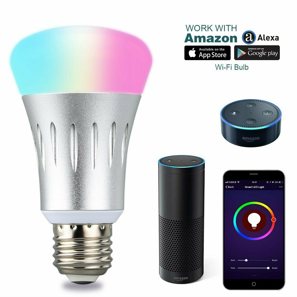 11W LED light bulbs Smart WiFi Bulb RGBW <font><b>6000k</b></font> Dimmable Lamp Work with Alexa Google Home IFTTT APP iOS Android B22 E27 <font><b>E14</b></font> image