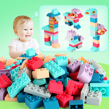 36-252PCS Baby Toy Building Blocks Compatible LegoINGlys Duploed 3D Touch Hand Soft Blocks DIY Rubber Block Toy For Children(China)