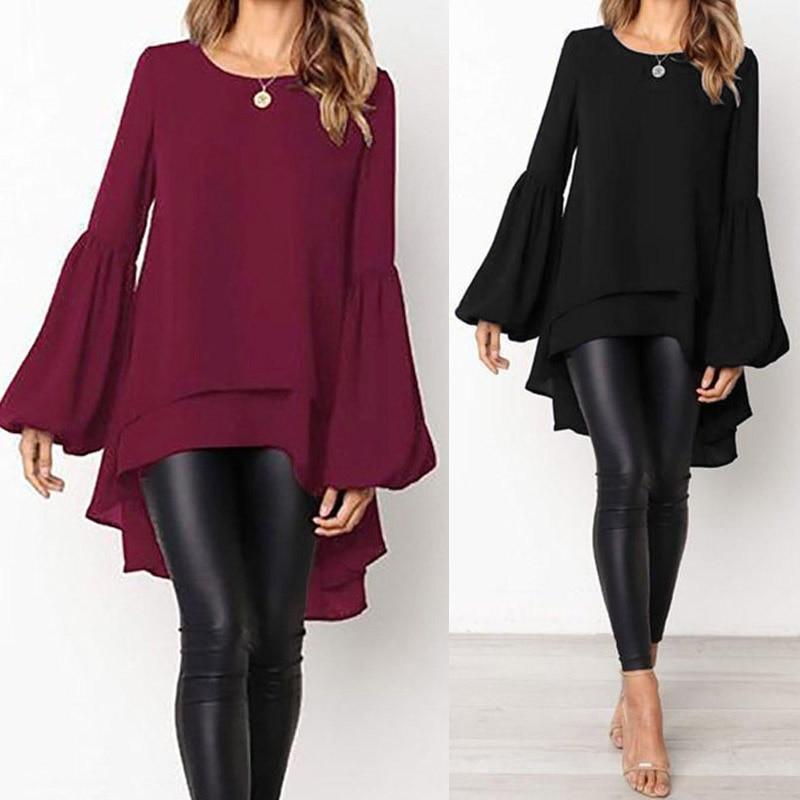 Fashion Puff Sleeve Tops Women's Asymmetrical Blouse 2019 ZANZEA Elegant Casual Layered Blusas Female Blusas Plus Size Tunic