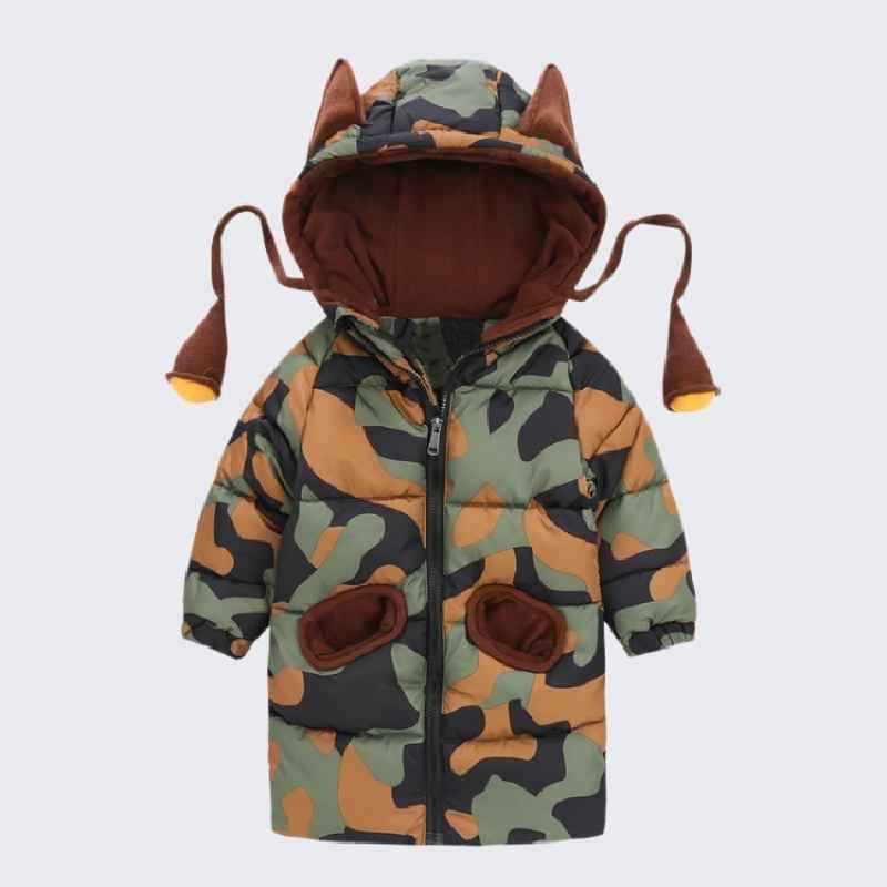 OLEKID 2019 Sonbahar Kış Bebek Erkek Ceket Karikatür Kapşonlu Bebek Erkek Kamuflaj Ceket 1-7 Yıl Yürüyor Parka Yenidoğan snowsuit
