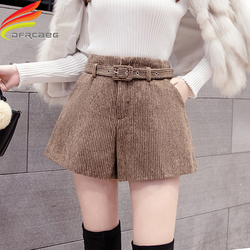 Corduroy Autumn Winter Shorts Women 2019 Latest Korean Style Women Wide Leg Woolen Shorts For Women 3 Colors Short Shorts Belt