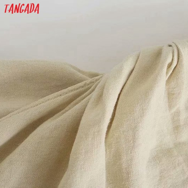 Tangada Women Pleated Cotton Linen Dress Sleeveless Backless 2021 Summer Fashion Lady Dresses 3H587 3