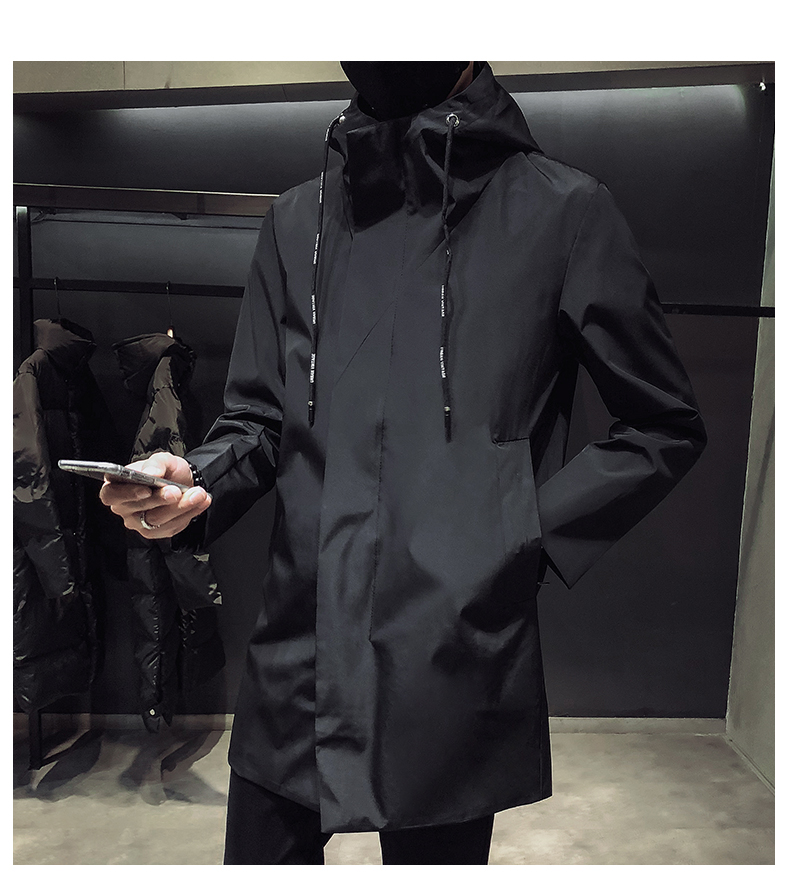 New Men's Black Trench Coat Hooded Windbreaker Coats M-4XL Casual Male Clothing Windproof Outwear(China)