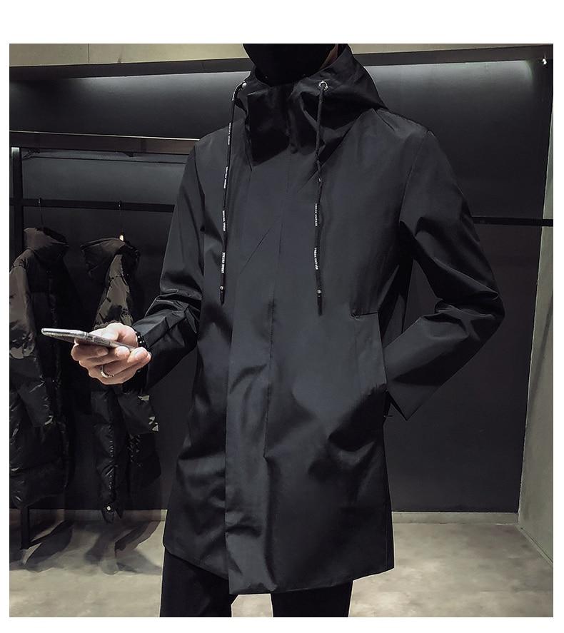 New Men's Black Trench Coat Hooded Windbreaker Coats M-4XL Casual Male Clothing Windproof Outwear