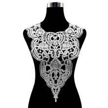 Hot Sale White Lace Collar Guipure Floral Dress Fabric Trim DIY Embroidery Lace Neckline Sewing Applique Trim Clothing Accessory цена 2017