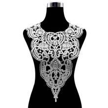 Hot Sale White Lace Collar Guipure Floral Dress Fabric Trim DIY Embroidery Lace Neckline Sewing Applique Trim Clothing Accessory plus guipure lace trim ladder cutout neck tee