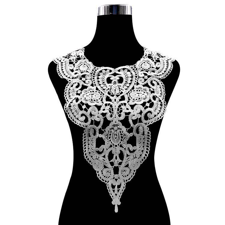 Embroidered Lace Collar Floral Neckline Trim Sewing Applique DIY Black White