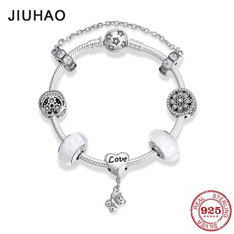 Bamoer S925 Sterling Silver Charm Bead Flower Dance avec CZ Fit Femmes Bracelet