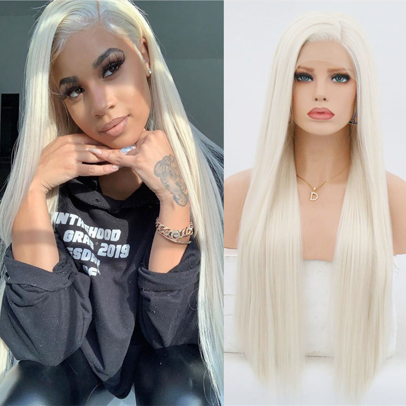 Rongduoyi #60 Platinum Blond Synthetic Lace Front Wigs For Women Long Silky Straight Wig Heat Resistant Fiber Hair Blonded Wig