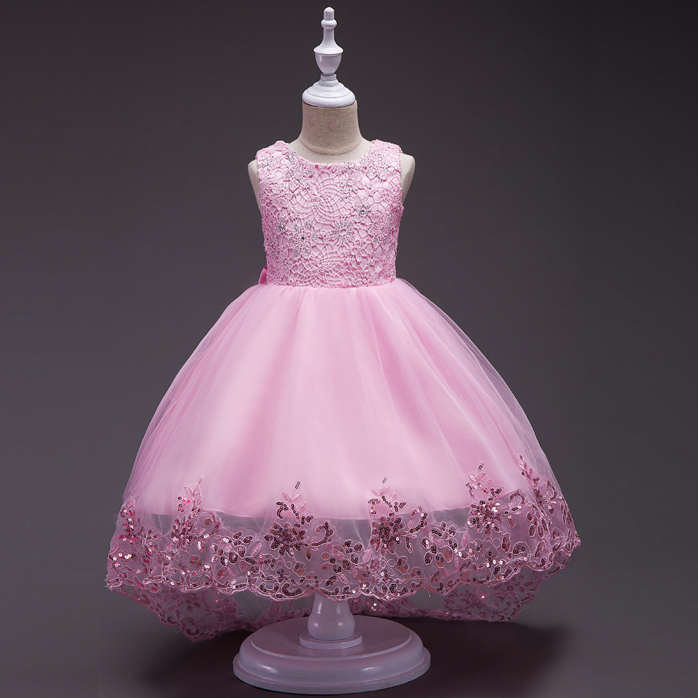 Children Wedding Dress Princess Skirt Red High-End Princess Tailing Dress Big Boy Girls Host Formal Dress