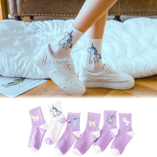 Kawaii Sweet Women's Socks Cotton Unicorn Socks Cartoon Animals Popular Funny Socks Printed cartoon unicorn pattern Happy Socks