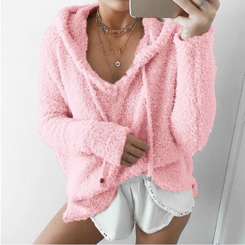 2020 Autumn Top Women Casual Mohair Hooded Pullovers V Neck Fleece Fashion Sweet Loose Warm Winter Mohair Tops Pullover