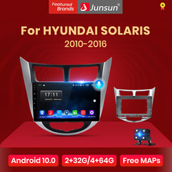 Junsun V1 Android 10 AI Voice Control Car Radio Multimedia Player For Hyundai Solaris 2010 -2016 Navigation GPS No 2 din 2din
