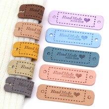 20 Uds hecho a mano con amor etiquetas para la ropa, hecho a mano de cuero de la PU de etiquetas DIY de sombreros bolsas coser accesorios de prendas de vestir