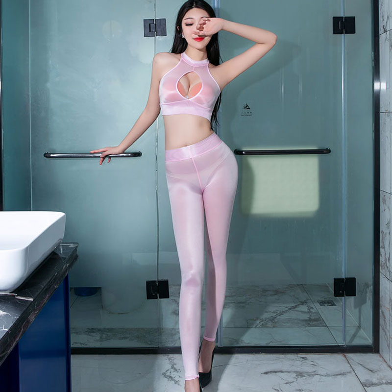 Sexy Hips Shiny Pencil Pants Oil Gloosy Capris Sheer See Through Sexy Leggings Candy Color Ultrathin Pants Erotic Lingerie