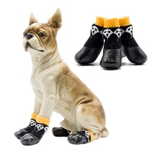 4 Pcs Pet Dog Shoes Boots Halloween Waterproof Socks Anti-slip Black Small Medium Large Dirty-proof Feet Cover