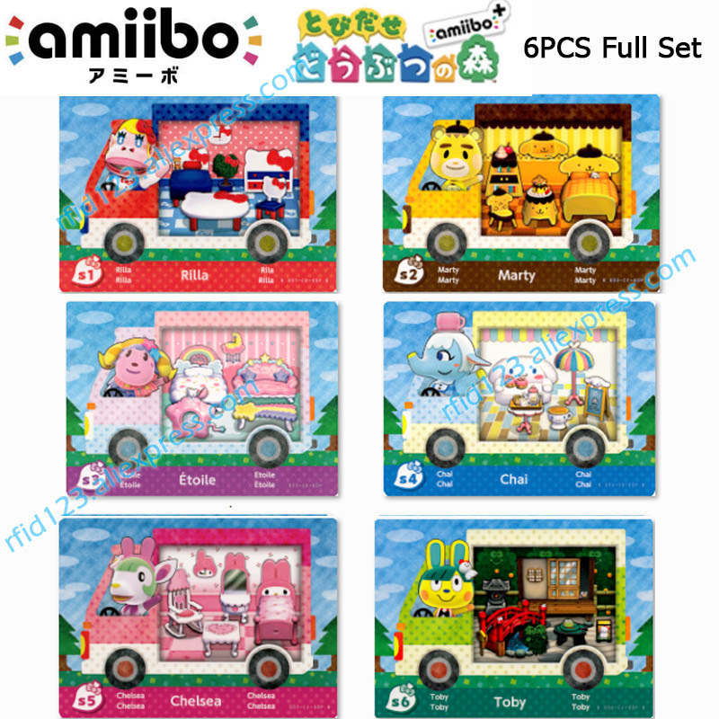 Animal Crossing Card Amiibo Card Work for NS Games Amibo Switch Welcome Stickers New Horizons NFC Sanrio X Whole set-6pcs/lot 1