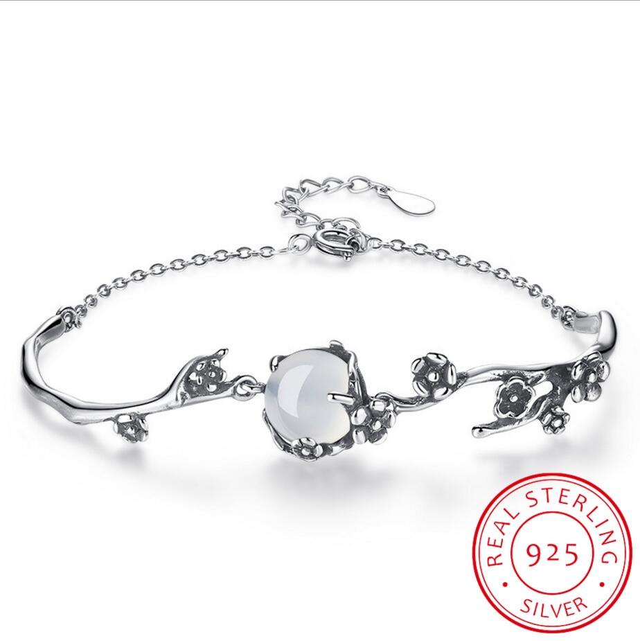 Pulsera de plata de ley 925 para mujer, joyería de calidad, ágata, ciruela, retro, 19CM de longitud