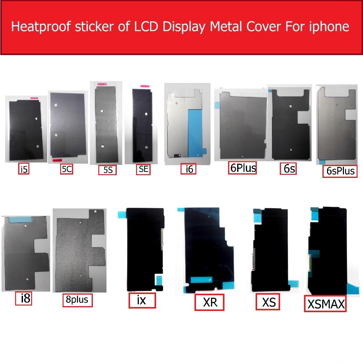 Heatproof Sticker Of Display LCD Metal Cover For Iphone 5 5s 5c Se 6 6s 8 Plus X XR XS MAX Insulation Heat Sink Dissipation Glue