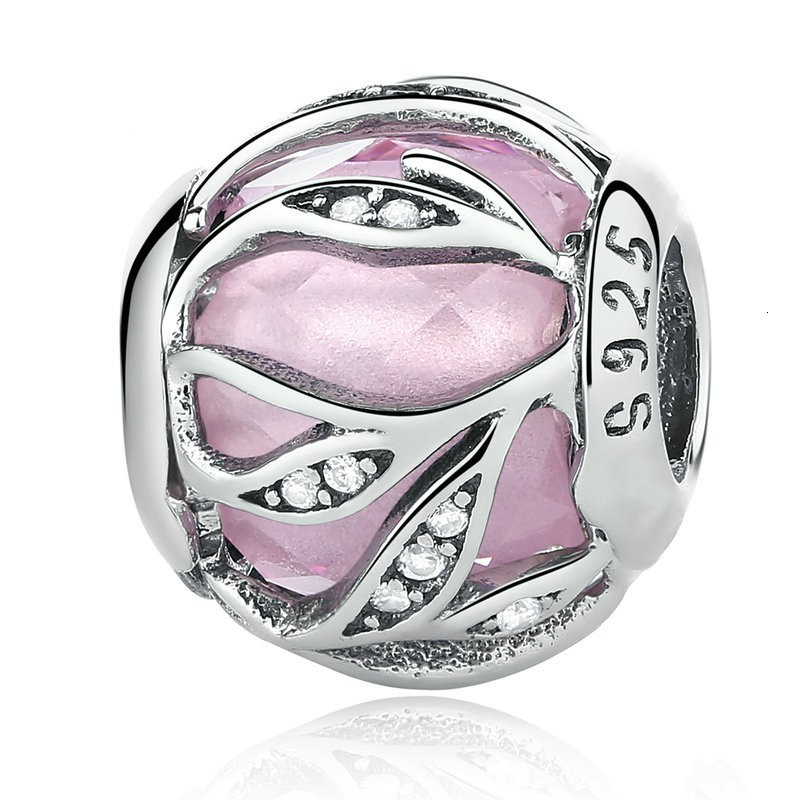 Authentic 925 Sterling Silver Radiance Pink Clear CZ Bead Charm fit Pandora European Beads Charms  Bracelets Jewelry