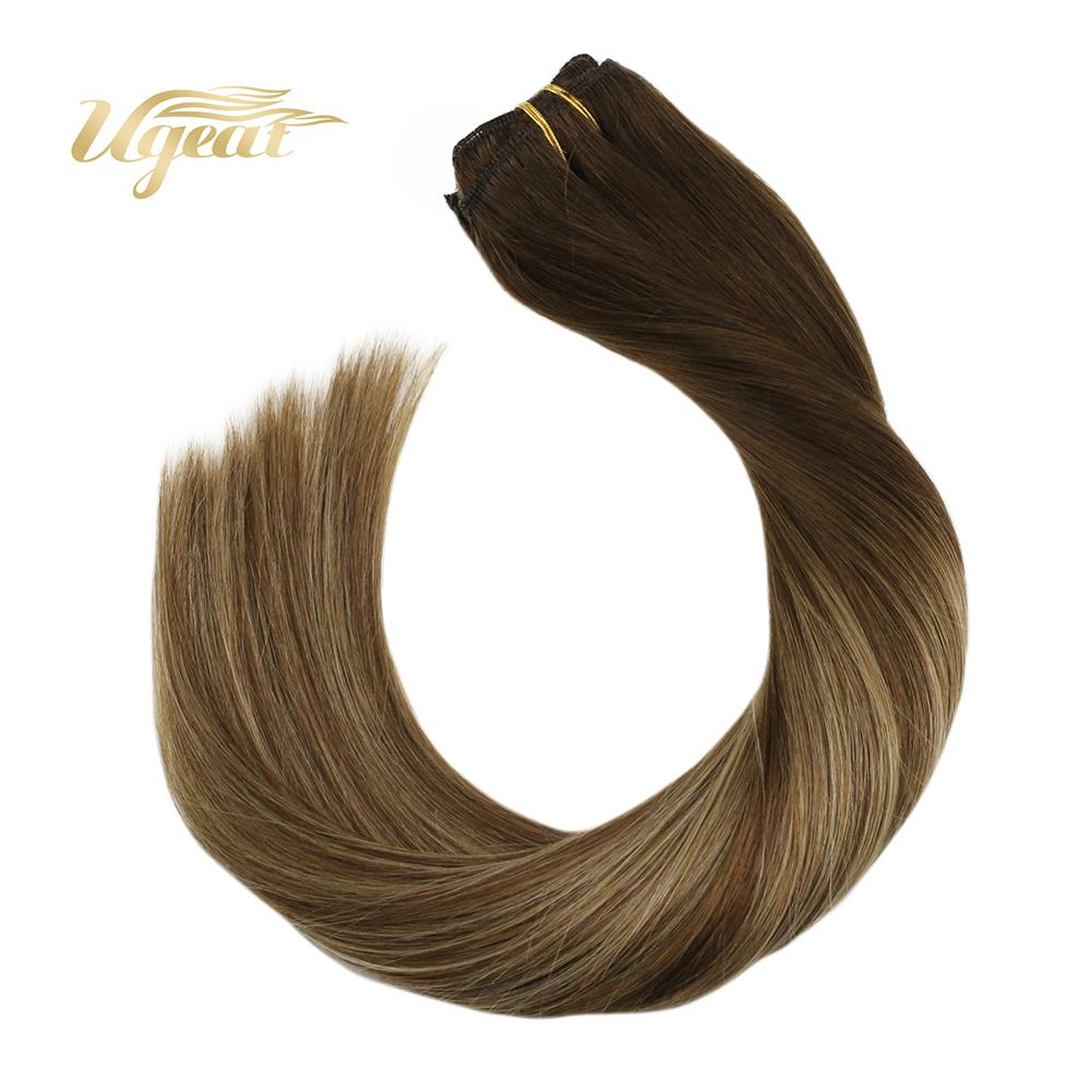 Ugeat Clip In Human Hair Extensions Machine Made Remy Human Hair 14-24