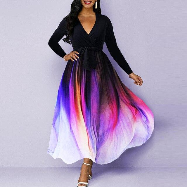 Neck Tie Dye Print Belted Maxi Dress