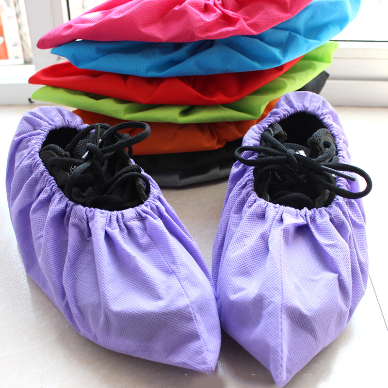 Household Thick Non-woven Shoe Cover Anti-static Non-slip Washable Shoe Cover Solid Color Unisex Shoes Accessories